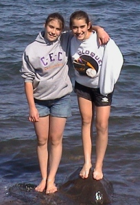 Sara and Alyssa in Lake Superior